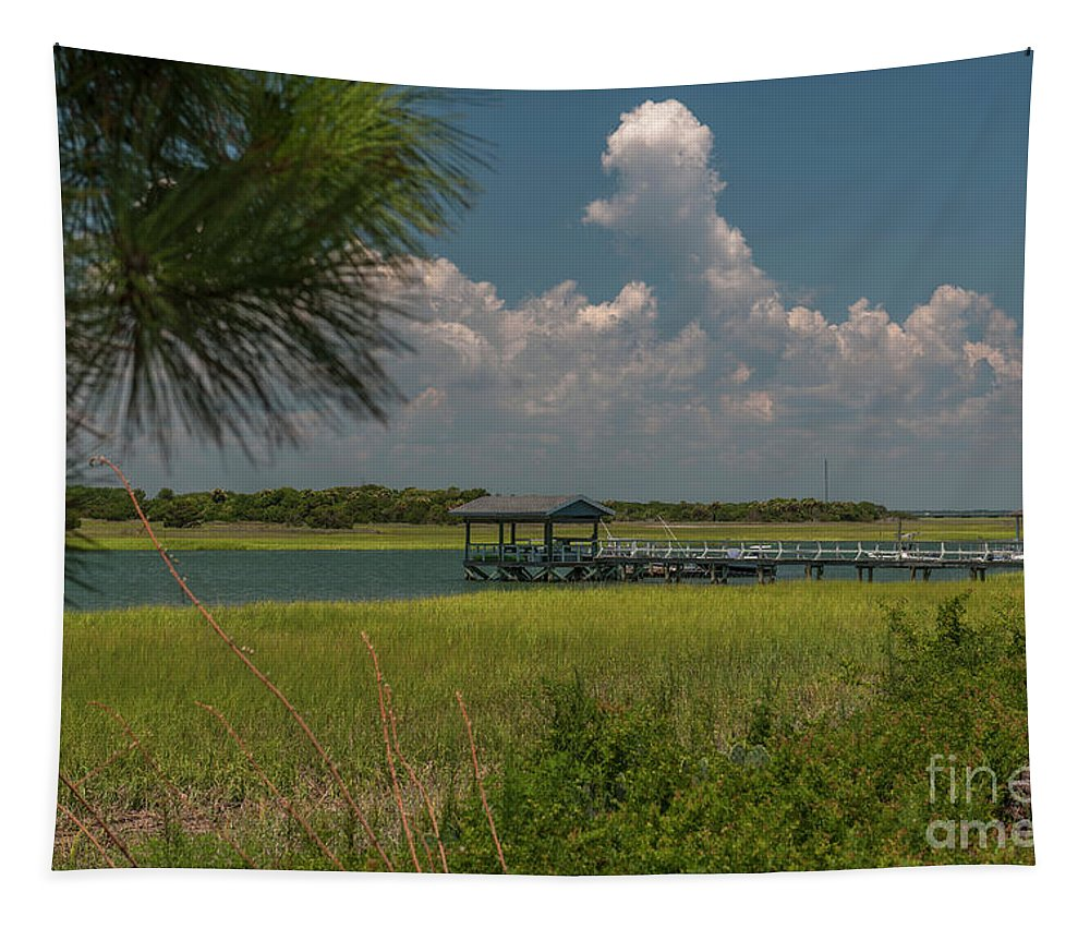 Sullivan's Island Tapestry featuring the photograph Intracoastal Water In Sullivan's Island South Carolina by Dale Powell