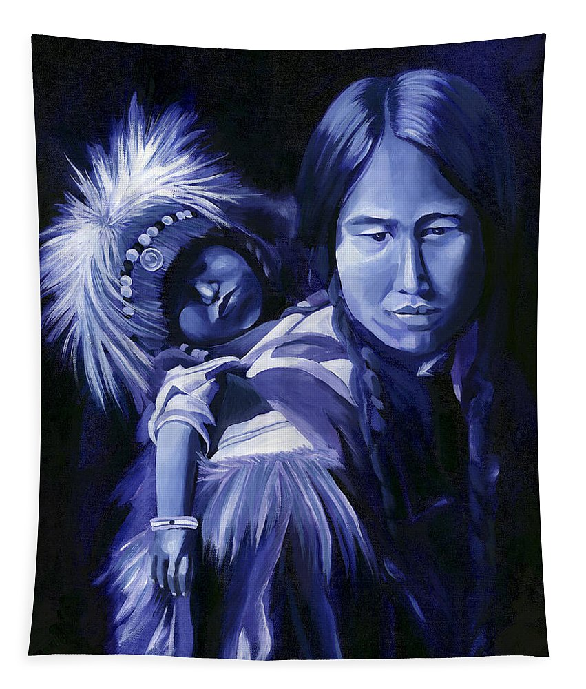 Native American Tapestry featuring the painting Inuit Mother And Child by Nancy Griswold