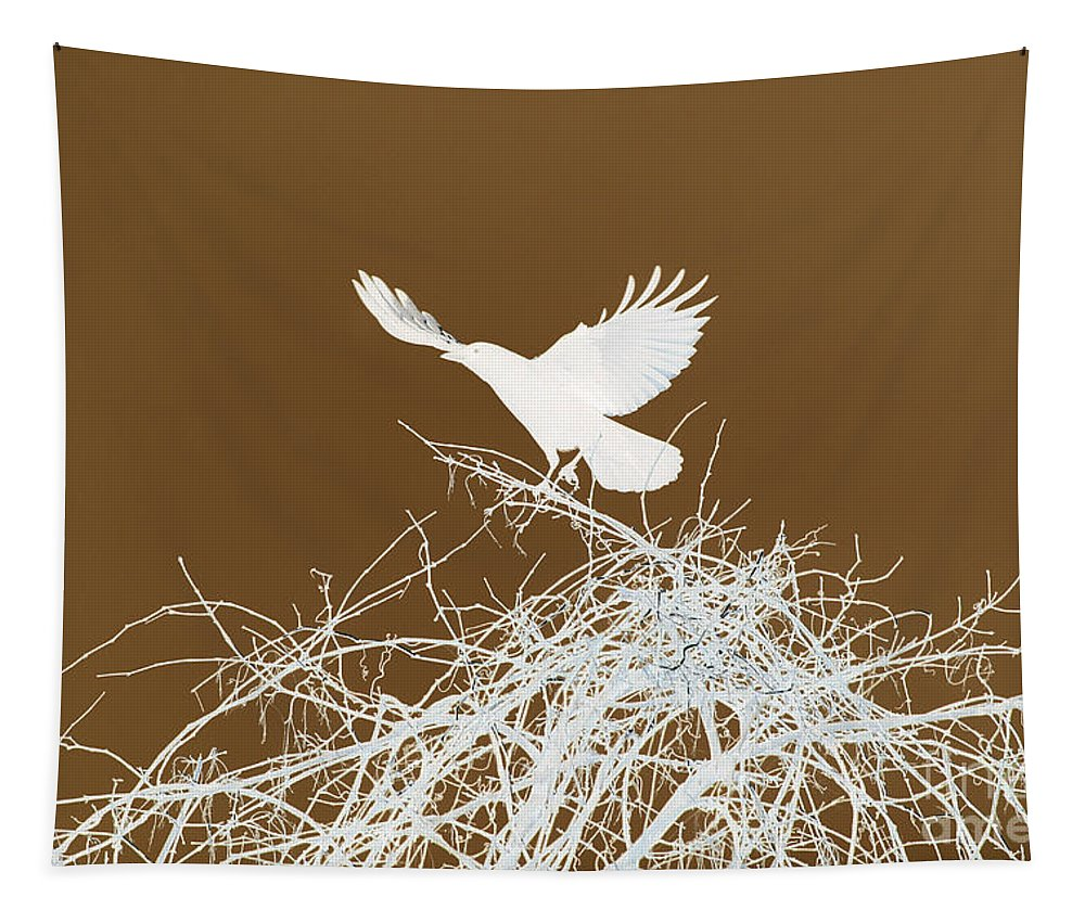 Bird Tapestry featuring the photograph Inverted Crow by Deborah Benoit