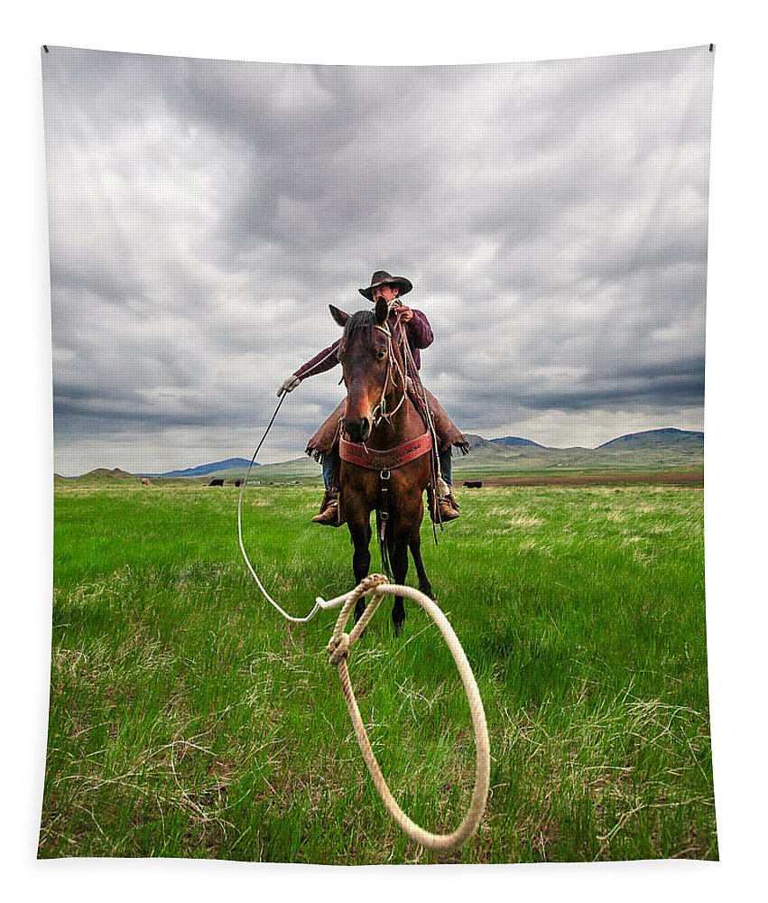 Cowboy Tapestry featuring the photograph Invisible Calf by Todd Klassy