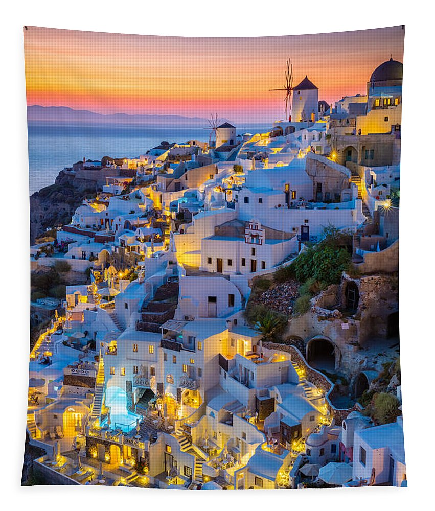 Aegean Sea Tapestry featuring the photograph Oia Sunset by Inge Johnsson