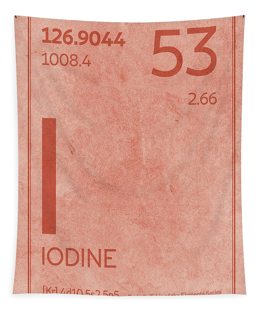Iodine Tapestry featuring the mixed media Iodine Element Symbol Periodic Table Series 053 by Design Turnpike