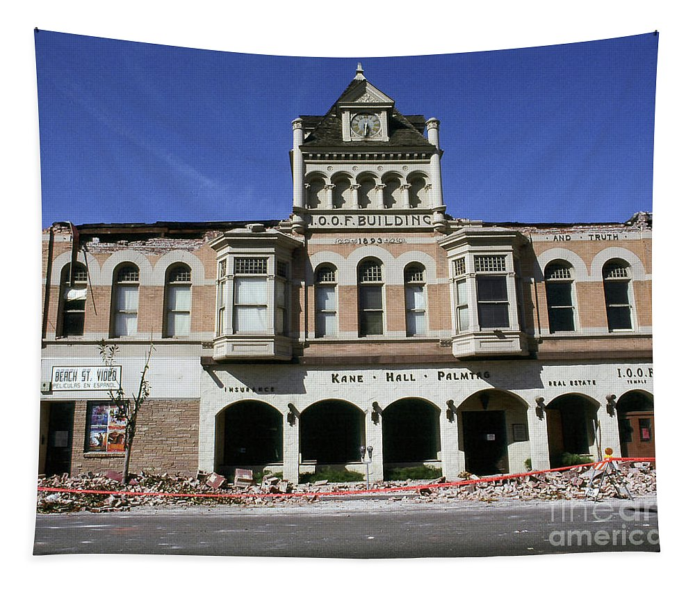 1989 Tapestry featuring the photograph Watsonville I. O. O. F. Building Built In 1893 Damaged By The Loma Prieta Earthquake 1989 by California Views Archives Mr Pat Hathaway Archives