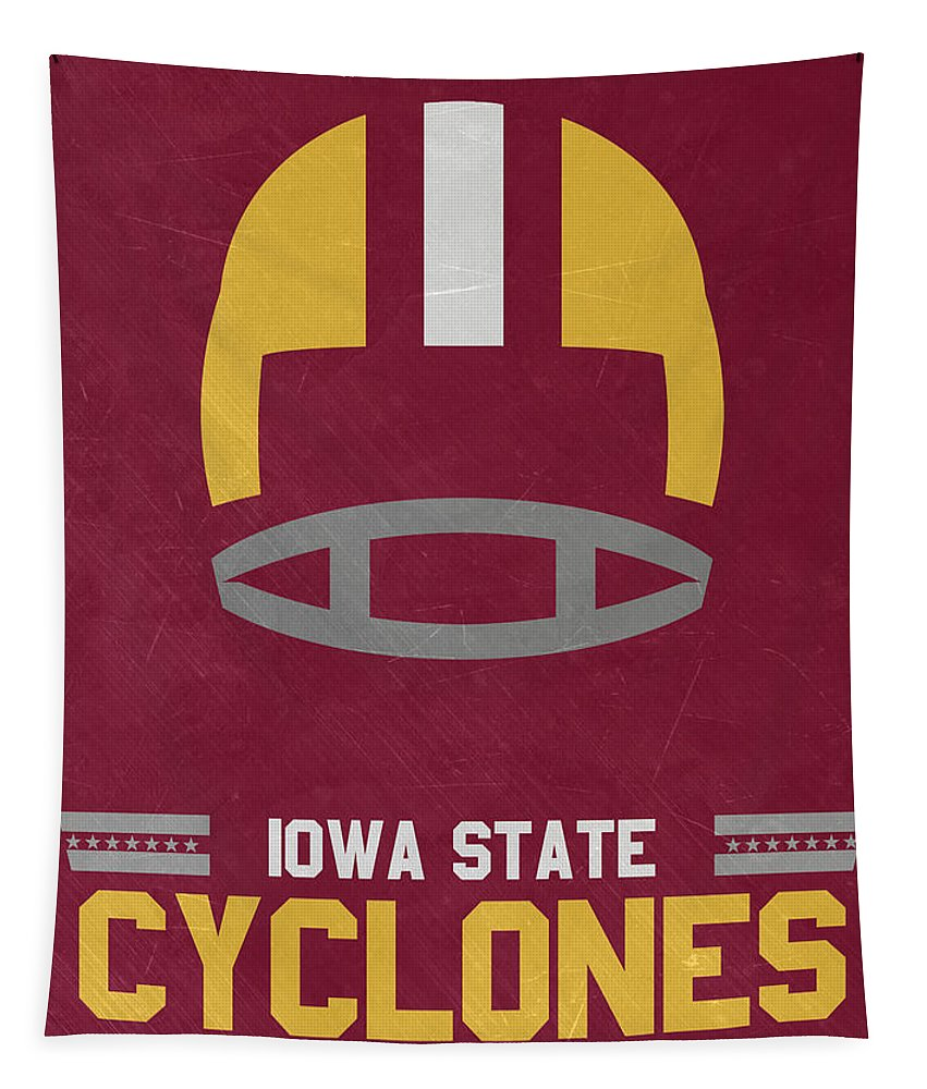 Cyclones Tapestry featuring the mixed media Iowa State Cyclones Vintage Football Art by Joe Hamilton