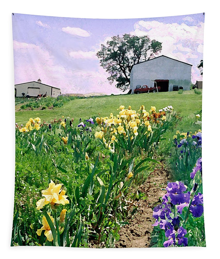 Landscape Painting Tapestry featuring the photograph Iris Farm by Steve Karol