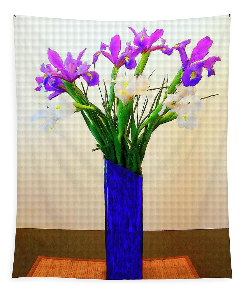 Irises Tapestry featuring the painting Irises by Dominic Piperata