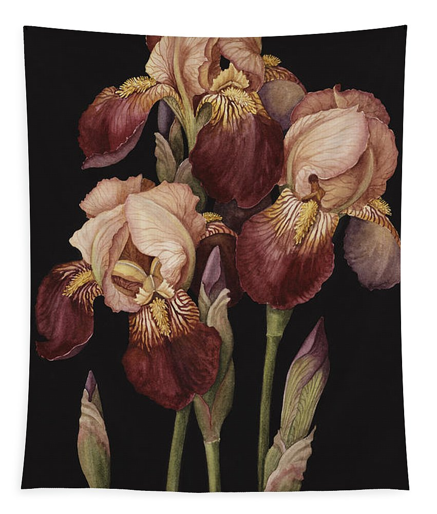 Flower Tapestry featuring the painting Irises by Jenny Barron