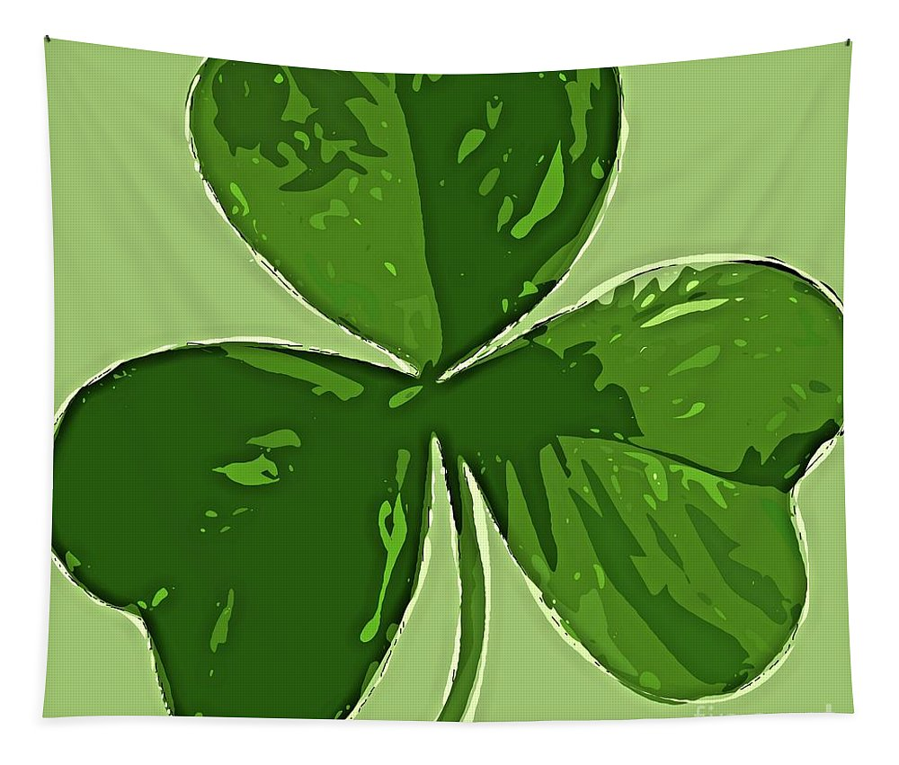 Clover Tapestry featuring the digital art Irish Clover by Dragica Micki Fortuna