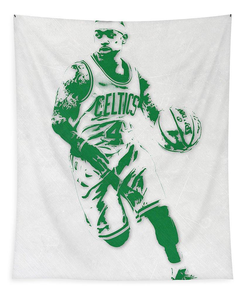 Isaiah Thomas Tapestry featuring the mixed media Isaiah Thomas Boston Celtics Pixel Art 2 by Joe Hamilton