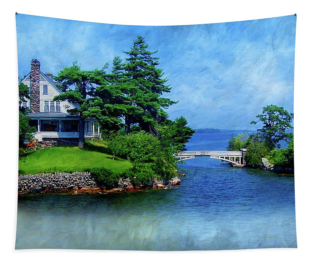 Bridge Tapestry featuring the photograph Island Home With Bridge - My Happy Place by Patti Deters