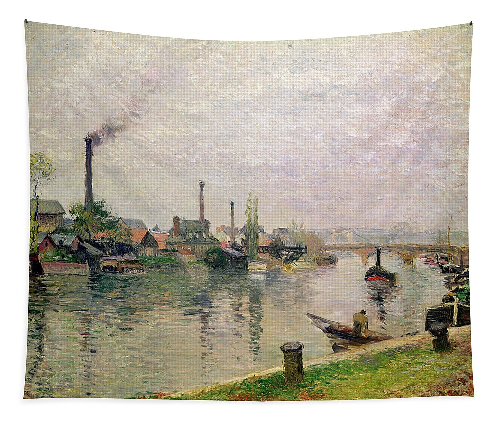 Ile Tapestry featuring the painting Island Of The Cross At Rouen by Camille Pissarro