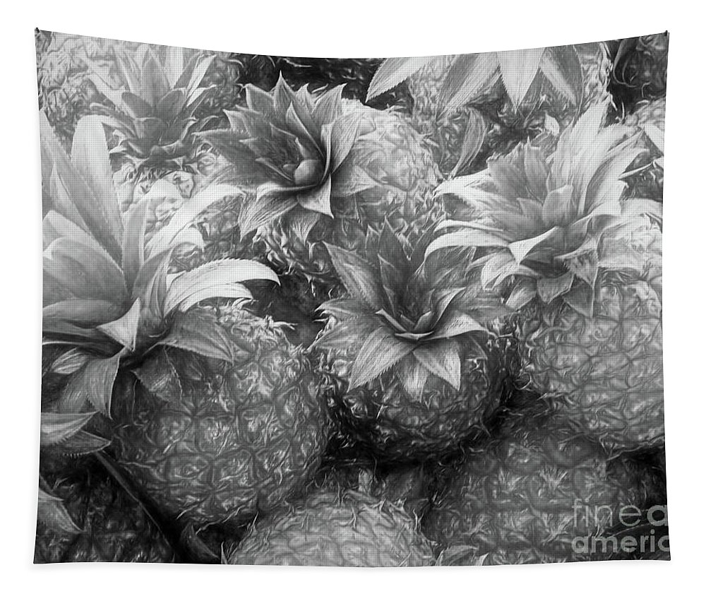 Pineapples Tapestry featuring the digital art Island Pineapples by Elisabeth Lucas