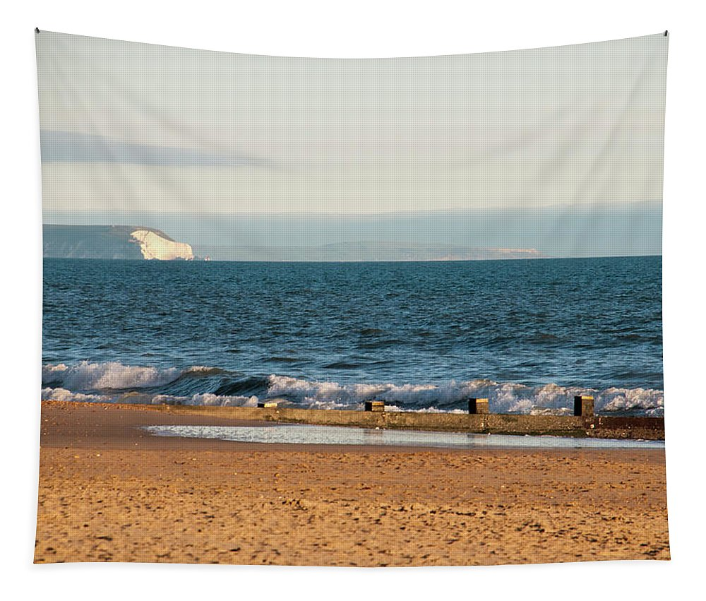 Isle Of Wight As Seen From Bournemouth Beach Tapestry featuring the photograph Isle Of Wight As Seen From Bournemouth Beach by Phyllis Taylor