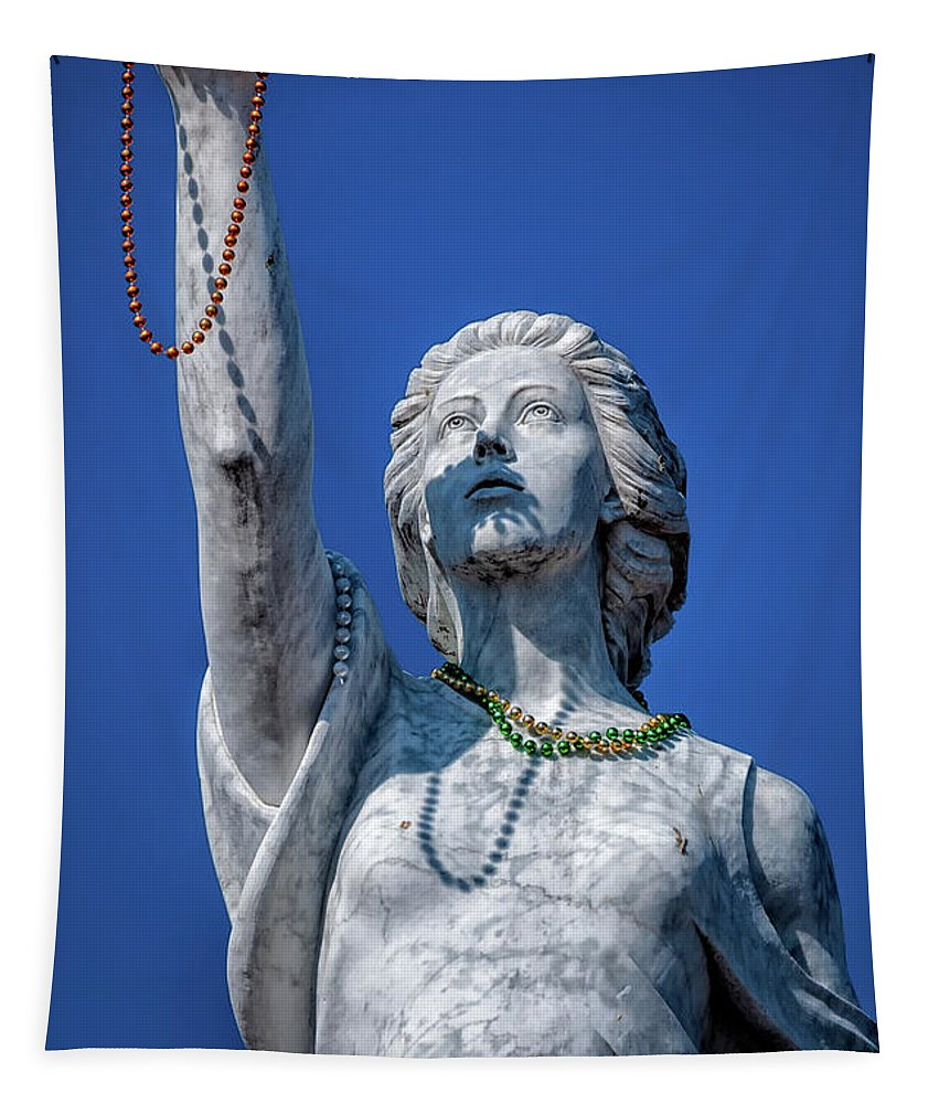 Statue Tapestry featuring the photograph It Is All About The Beads-nola by Kathleen K Parker
