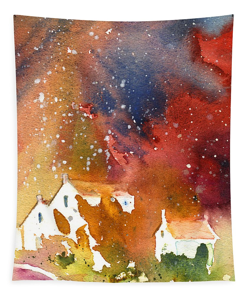 Watercolour Tapestry featuring the painting It Is Always Snowing Somewhere 01 by Miki De Goodaboom