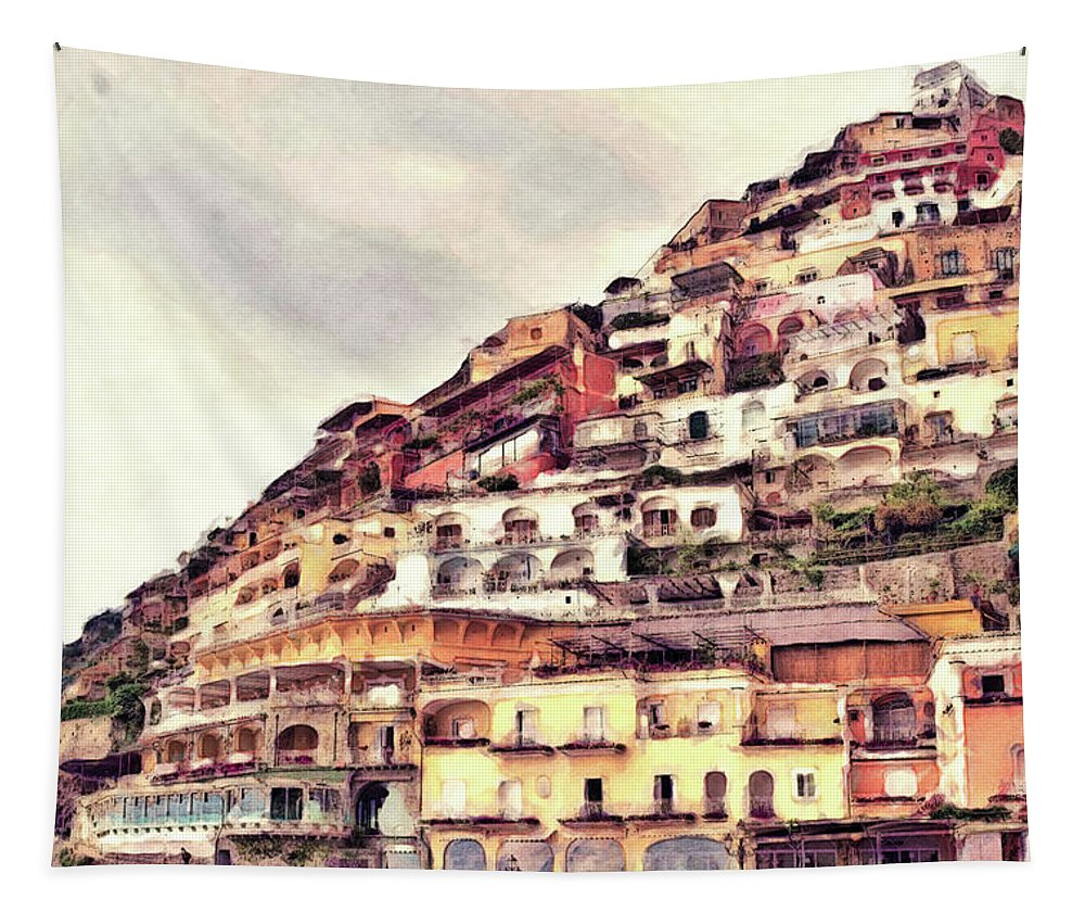 Tapestry featuring the photograph Italian Hillside Village by Phil Perkins