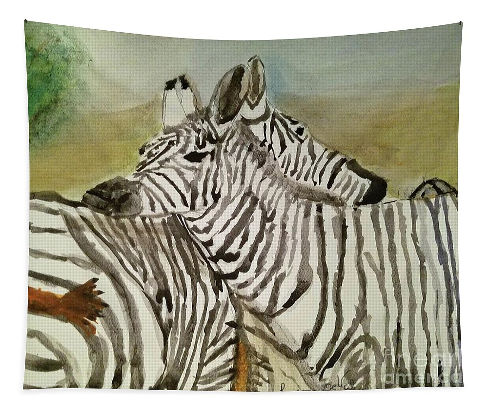 Zebra Tapestry featuring the painting Ive Got Your Back by Regina Combs