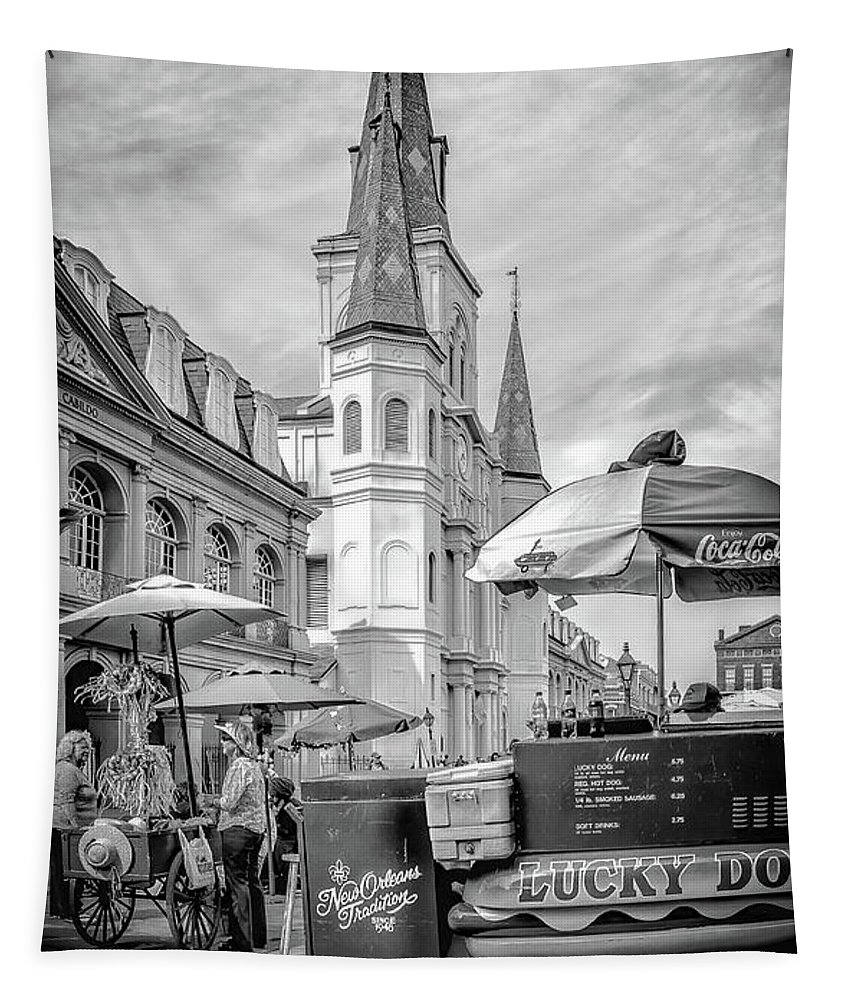 St. Louis Cathedral Tapestry featuring the photograph Jackson Square Scene New Orleans - Bw by Kathleen K Parker