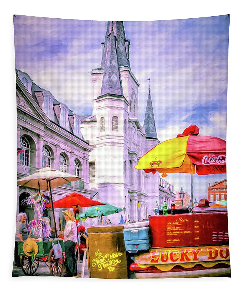 St. Louis Cathedral Tapestry featuring the photograph Jackson Square Scene - Painted - Nola by Kathleen K Parker