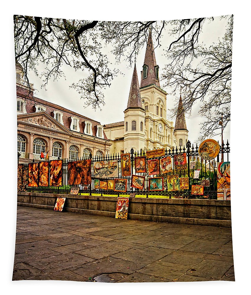 French Quarter Tapestry featuring the photograph Jackson Square Winter - Artistic by Steve Harrington