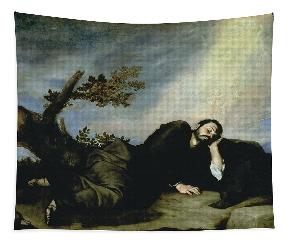 Jacob's Dream Tapestry featuring the painting Jacobs Dream by Jusepe de Ribera