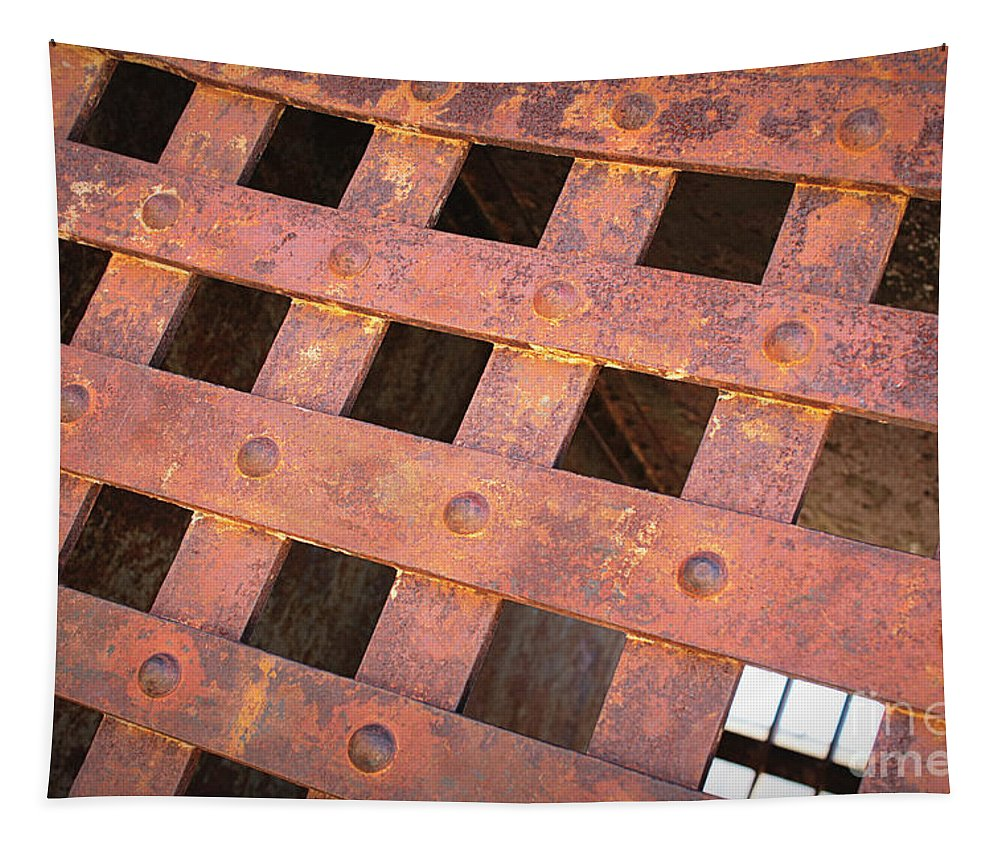 Iron Door Tapestry featuring the photograph Rusty Jailhouse Door by Carol Groenen