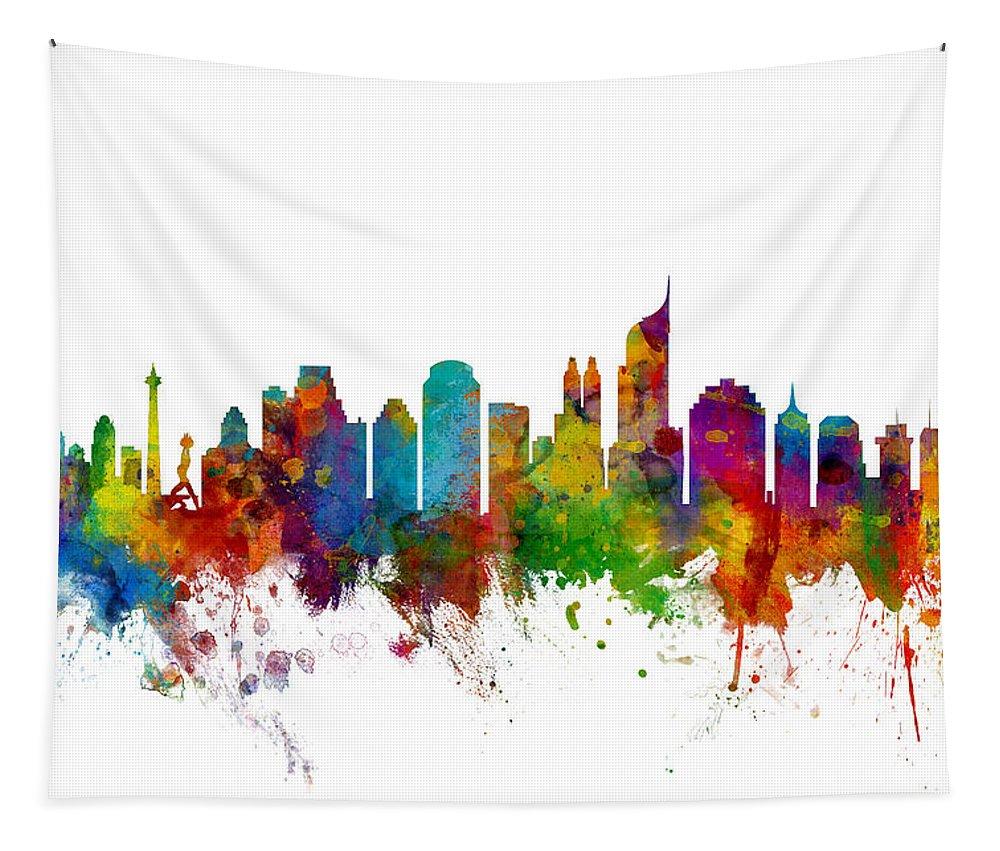 Watercolour Tapestry featuring the digital art Jakarta Skyline Indonesia by Michael Tompsett