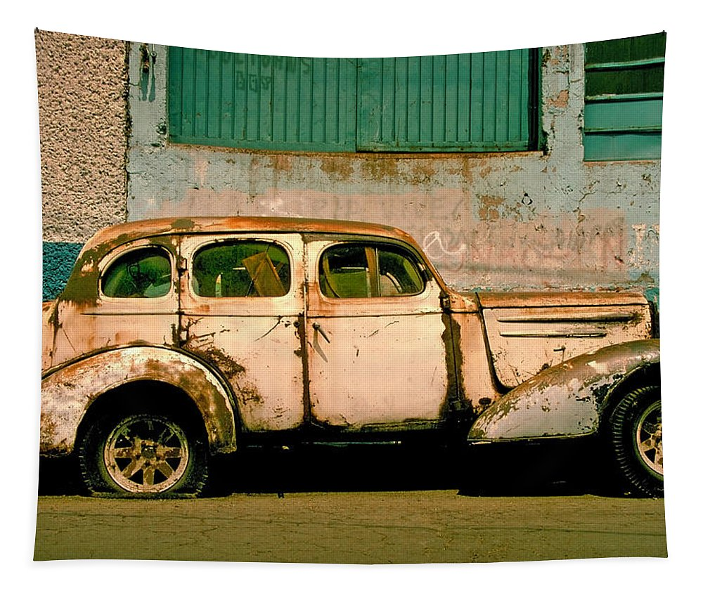Skip Tapestry featuring the photograph Jalopy by Skip Hunt
