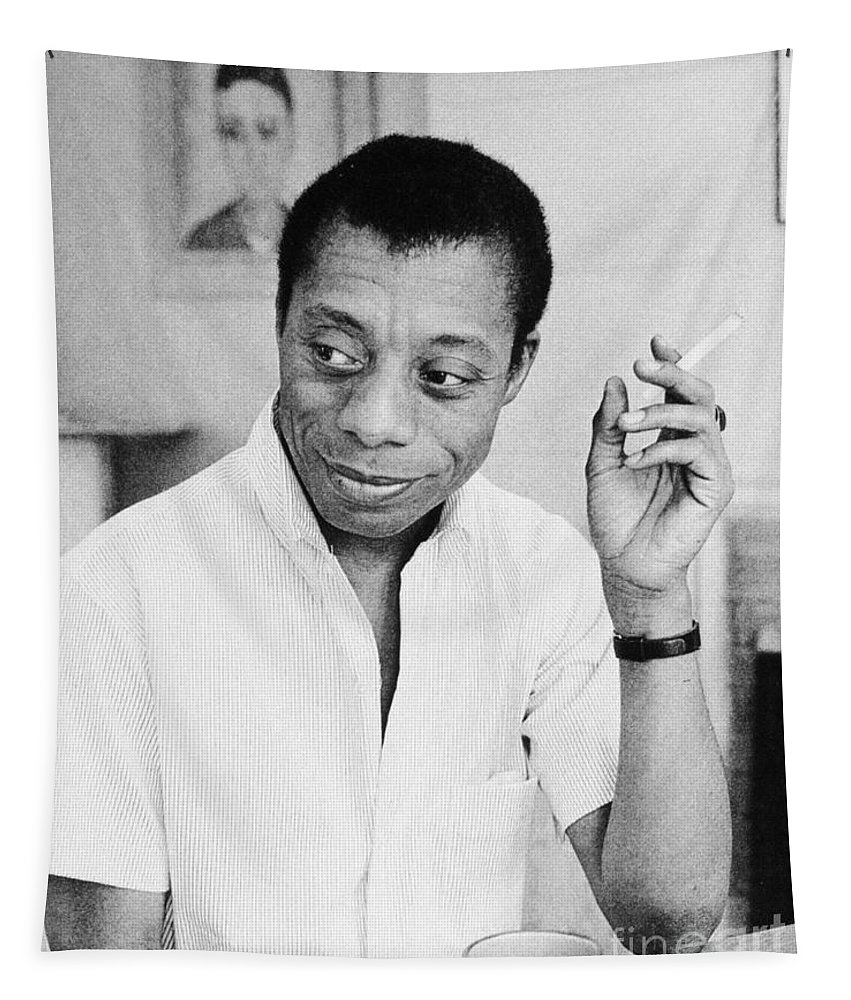 1950s Tapestry featuring the photograph James Baldwin by Granger