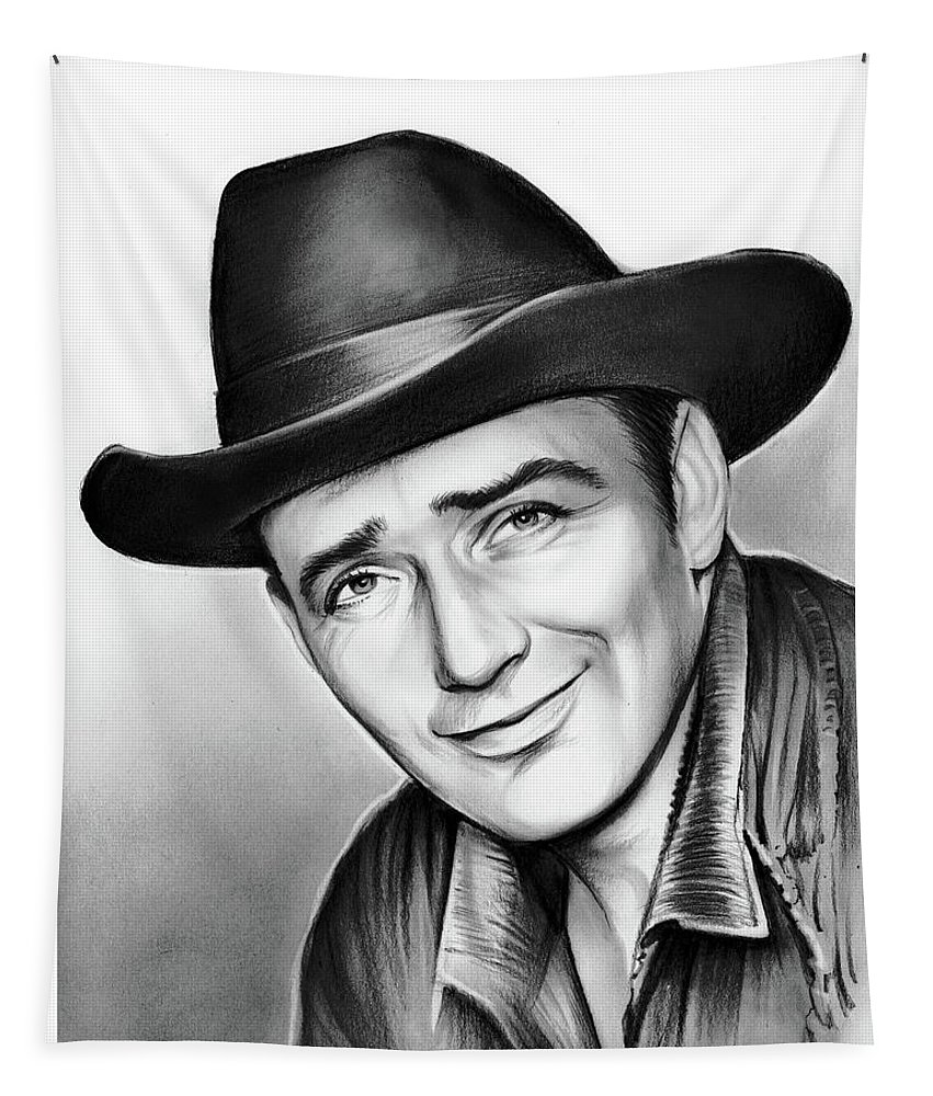 James Drury Tapestry featuring the drawing James Drury by Greg Joens