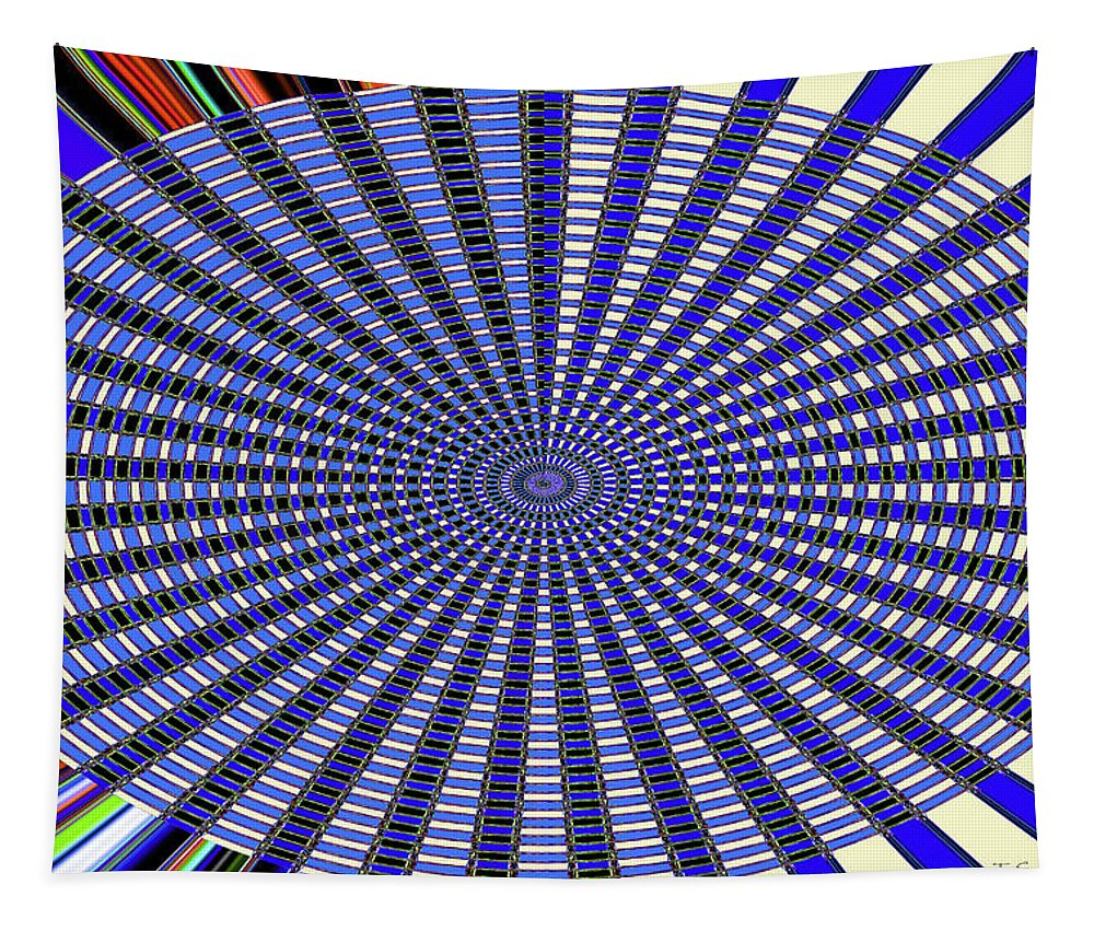 Janca Blue Oval Abstract 9646w11 Tapestry featuring the digital art Janca Blue Oval Abstract 9646w11 by Tom Janca
