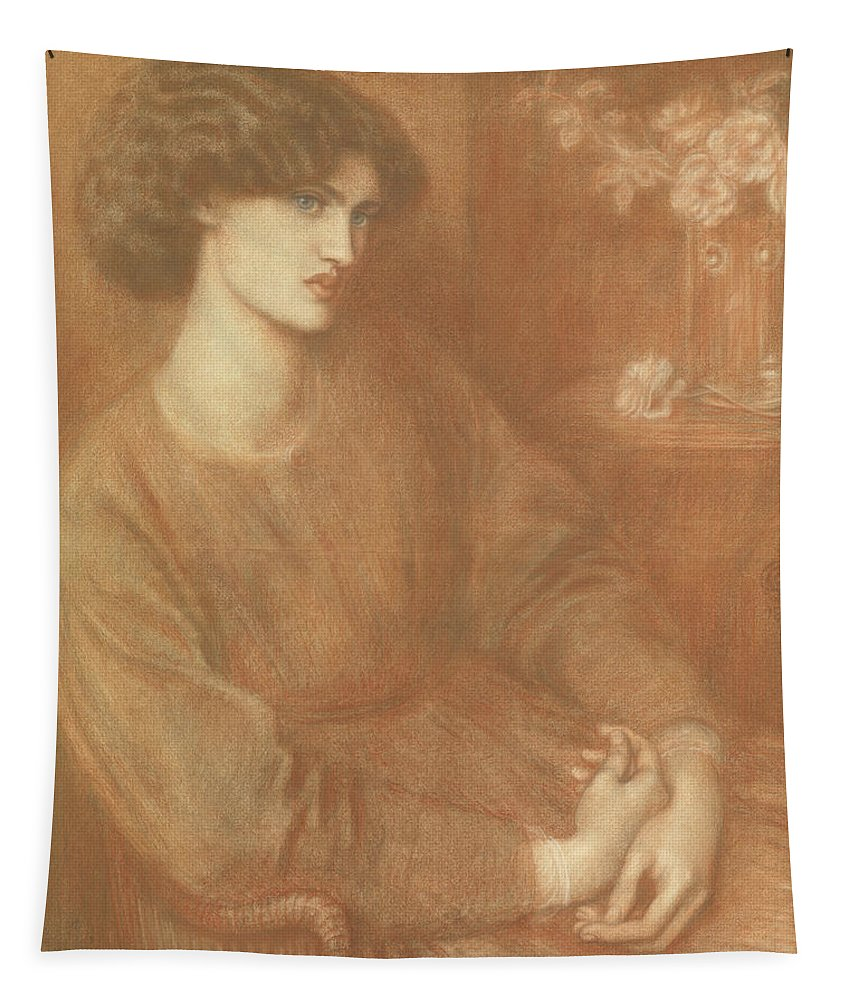 Rossetti Tapestry featuring the drawing Jane Morris by Dante Gabriel Charles Rossetti