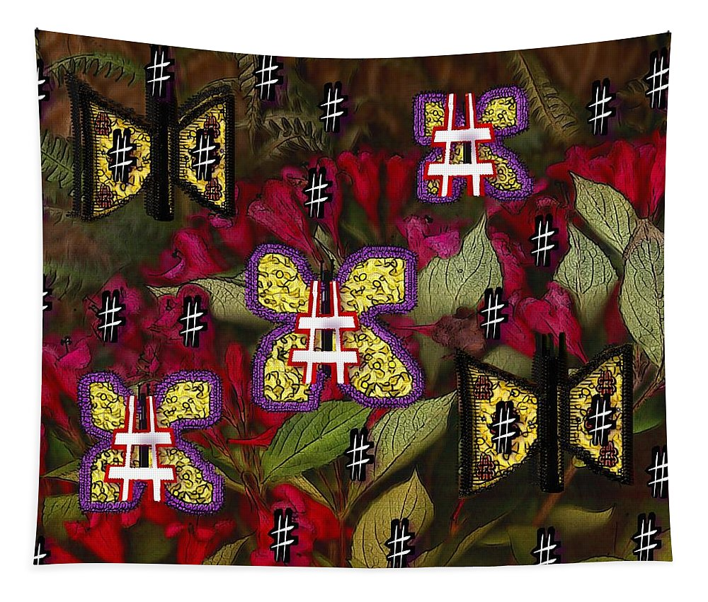 Butterfy Tapestry featuring the mixed media Japanese Butterflies In Modern Style by Pepita Selles