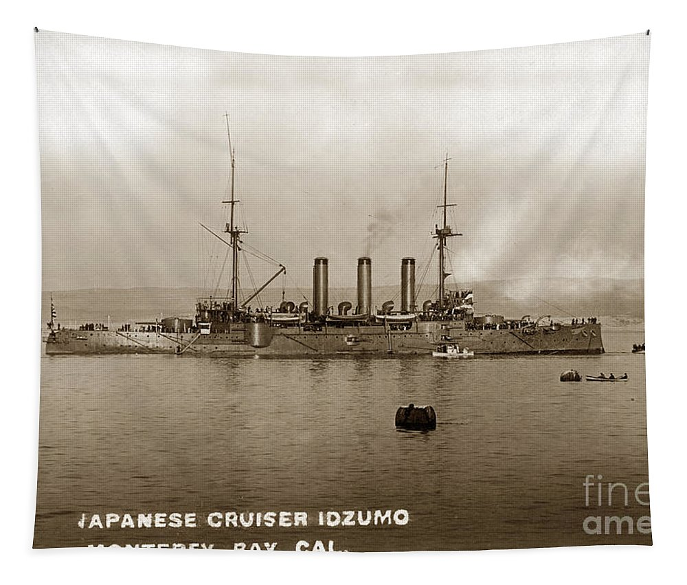 Japanese Cruiser Tapestry featuring the photograph Japanese Cruiser Izumo In Monterey Bay December 1913 by California Views Archives Mr Pat Hathaway Archives
