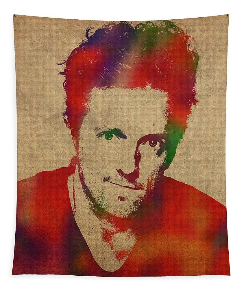Jason Mraz Tapestry featuring the mixed media Jason Mraz Watercolor Portrait by Design Turnpike