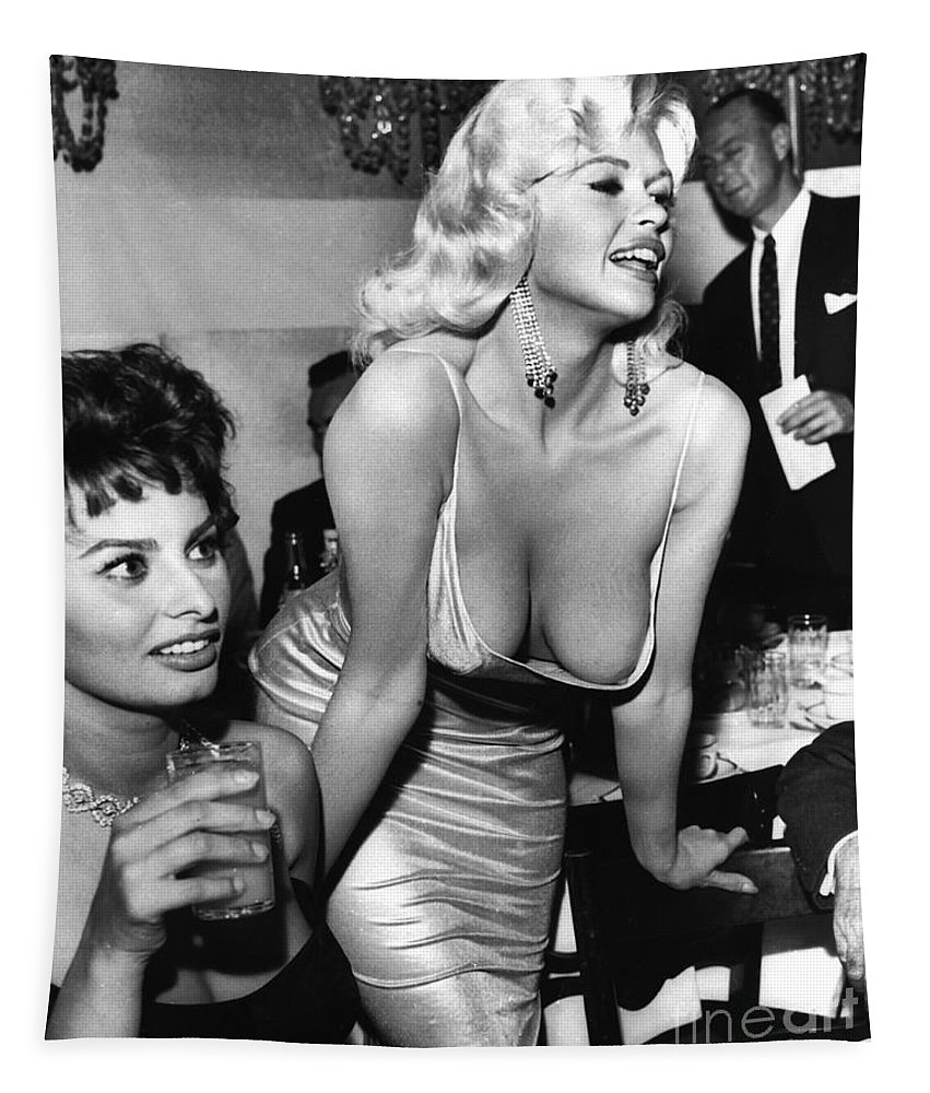 Jayne Mansfield Tapestry featuring the photograph Jayne Mansfield Hollywood Actress And, Italian Actress Sophia Loren 1957 by California Views Archives Mr Pat Hathaway Archives