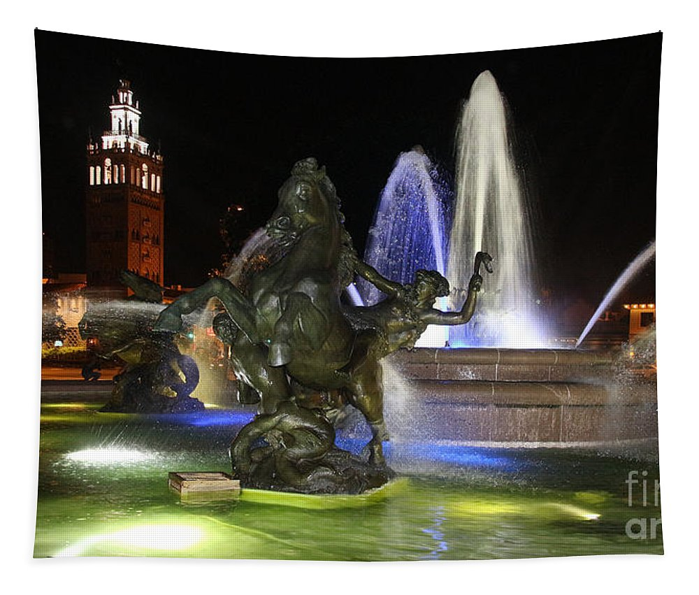 J.c. Nichols Fountain Tapestry featuring the photograph J.c. Nichols Fountain-kc,mo-4967 by Gary Gingrich Galleries