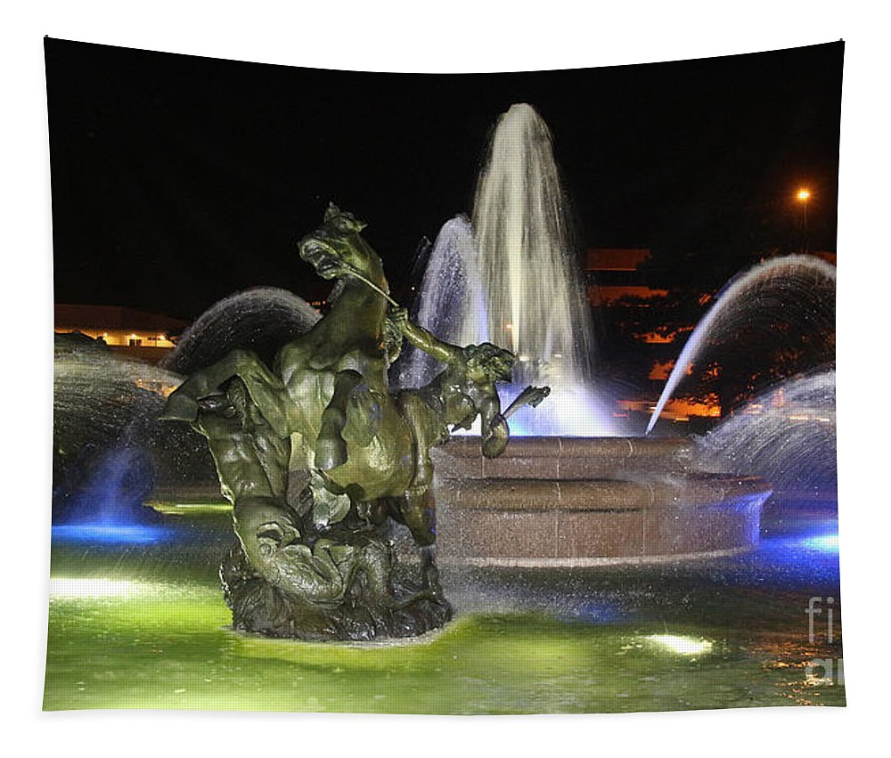 J.c. Nichols Fountain Tapestry featuring the photograph J.c. Nichols Fountain-4981 by Gary Gingrich Galleries