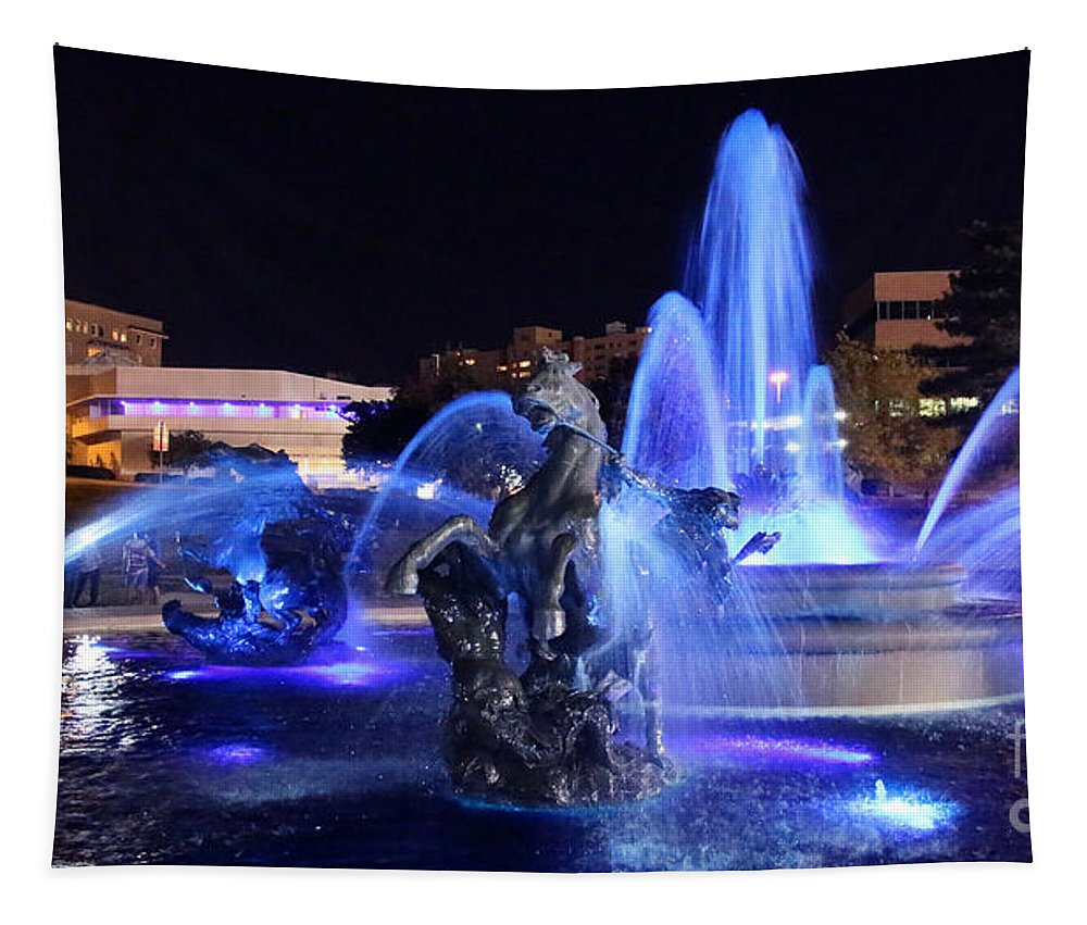 J.c. Nichols Fountain Tapestry featuring the photograph J.c.nichols Fountain-9802b by Gary Gingrich Galleries