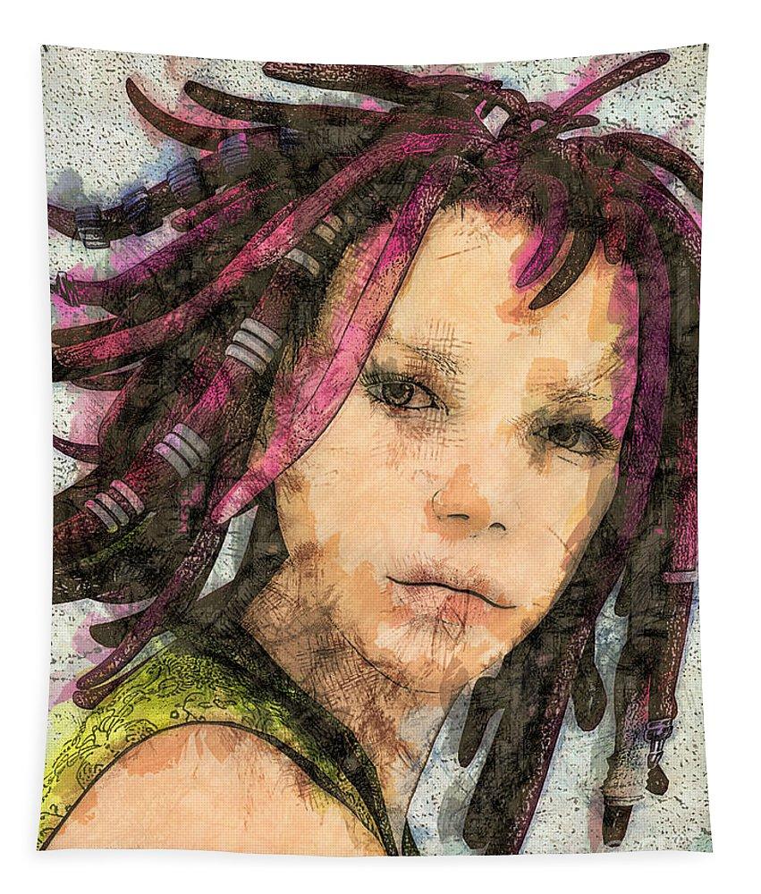 3d Tapestry featuring the digital art Jehanne by Jutta Maria Pusl