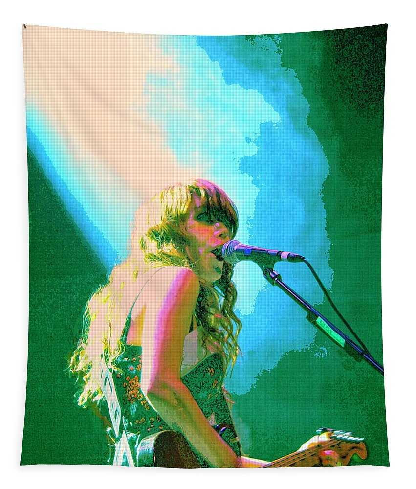 Jenny Lewis Tapestry featuring the mixed media Jenny Lewis 1 by Dominic Piperata