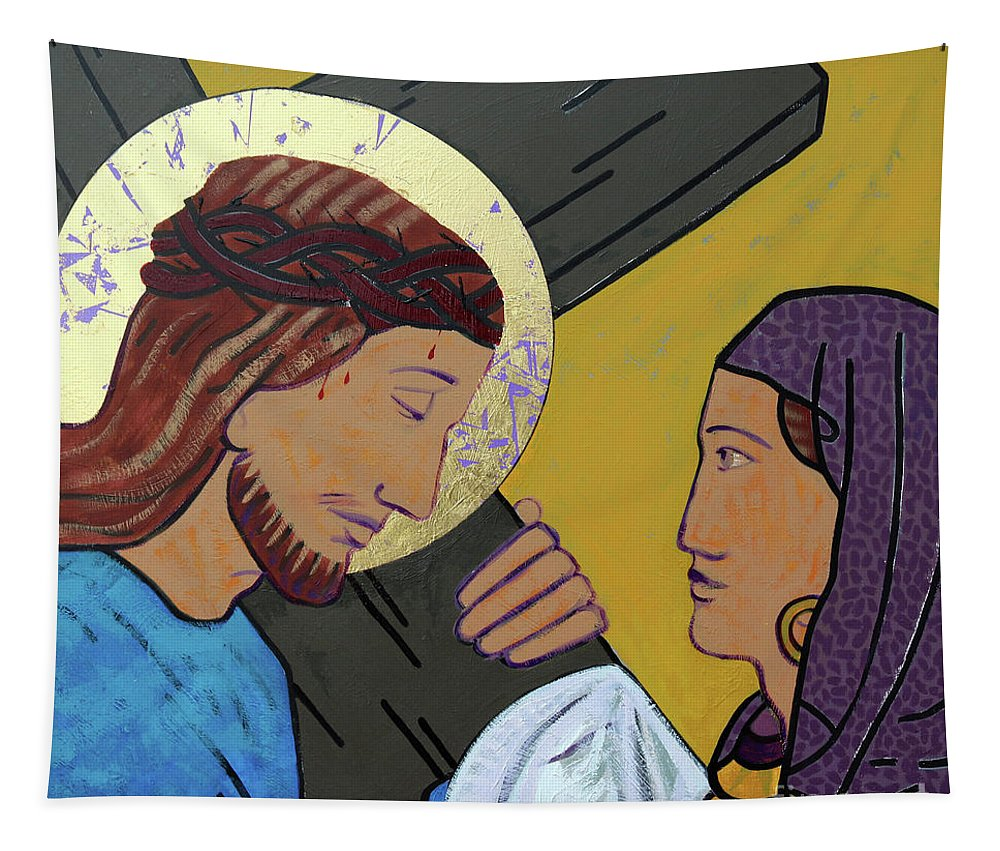 Jesus And Veronica Tapestry featuring the painting Jesus And Veronica by Sara Hayward