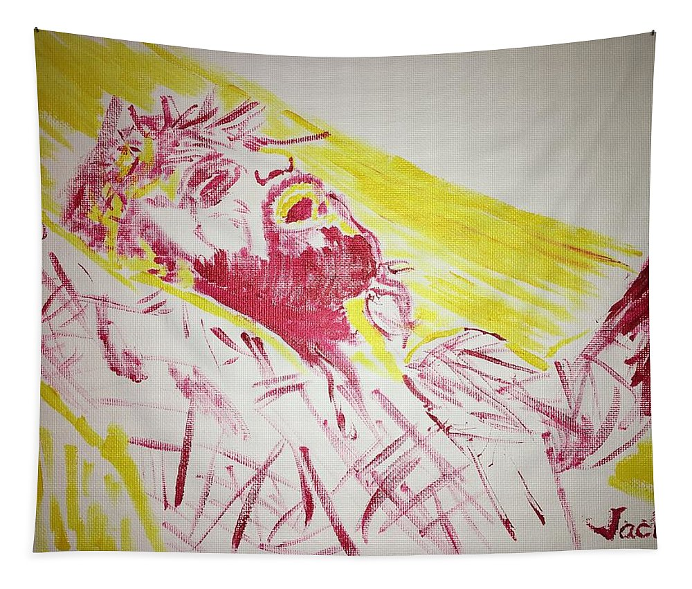 Jesus Tapestry featuring the painting Jesus Glory by Jack Bunds