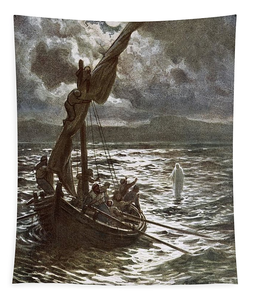 Bible; Jesus Christ; Walking On The Sea; Walking On Water; Sea Of Galilee; Boat; Sailing; Overtaking His Disciples Tapestry featuring the painting Jesus Walking Upon The Sea by William Brassey Hole