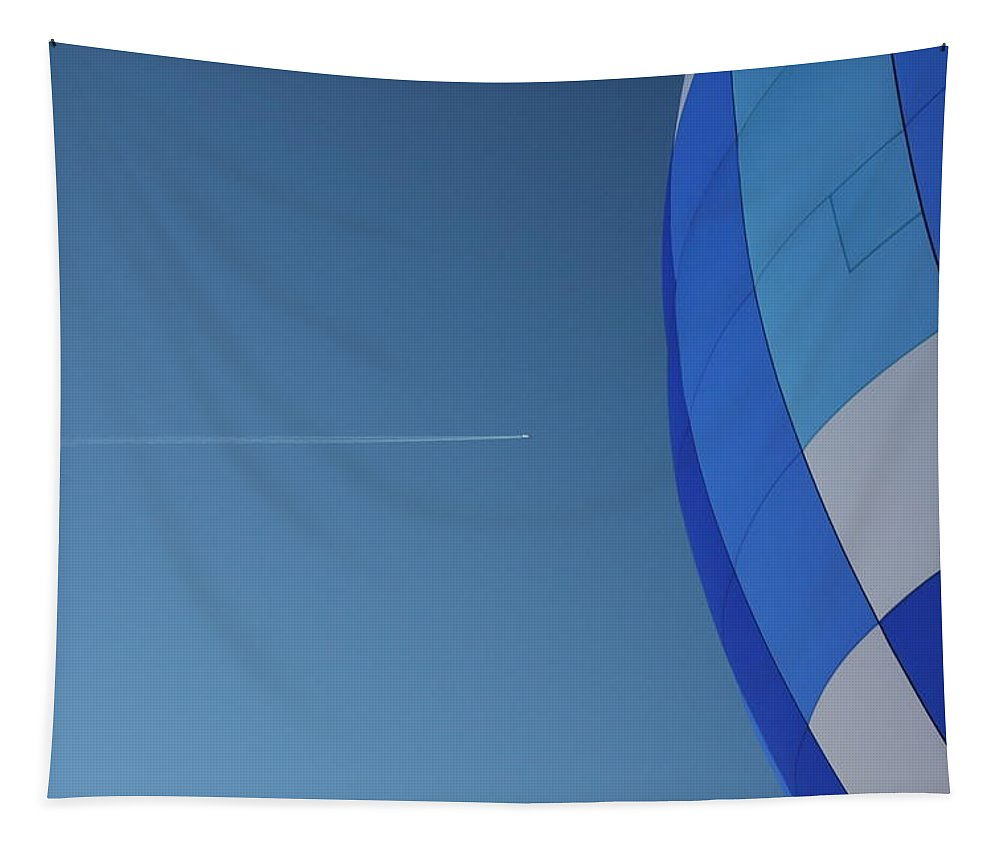 Plane Tapestry featuring the photograph Jet And Balloon by Paul Tokarchuk