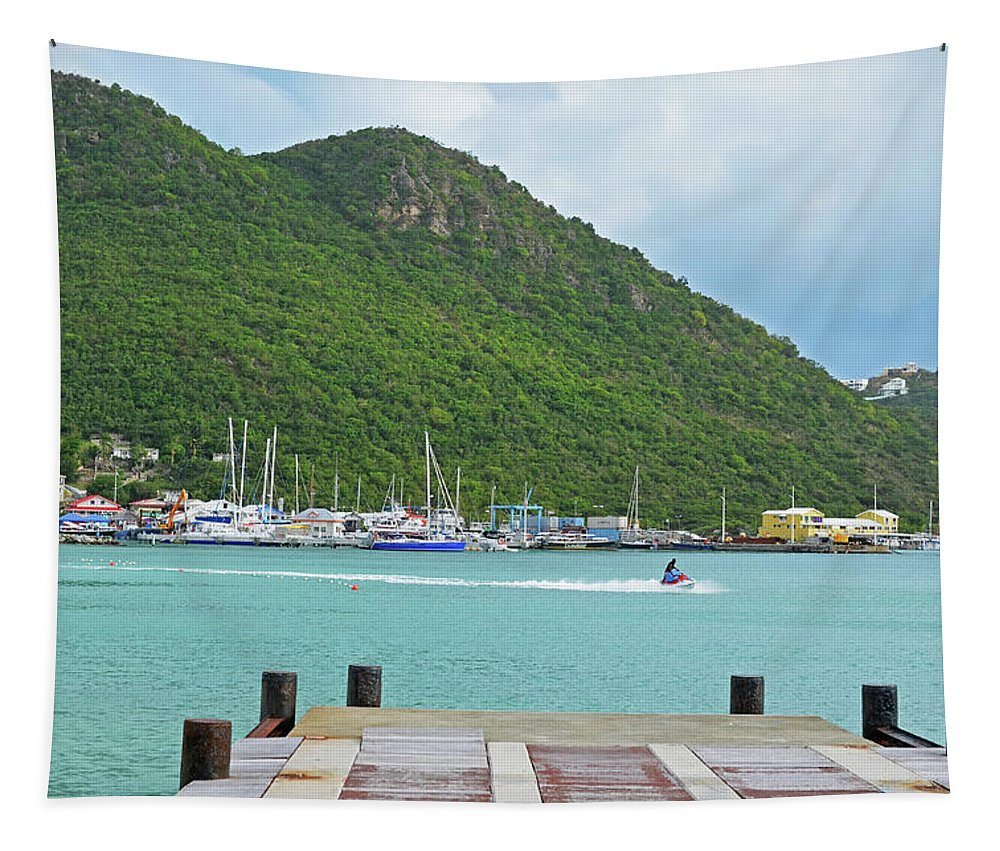 Powerboat Tapestry featuring the photograph Jet Ski On The Lagoon Caribbean St Martin by Toby McGuire