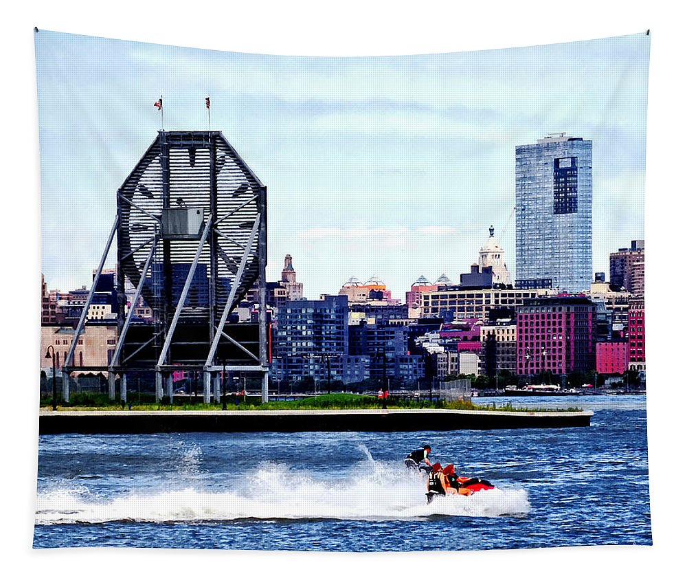 Jet Skiing Tapestry featuring the photograph Jet Skiing By Colgate Clock by Susan Savad