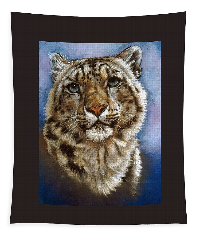 Snow Leopard Tapestry featuring the pastel Jewel by Barbara Keith