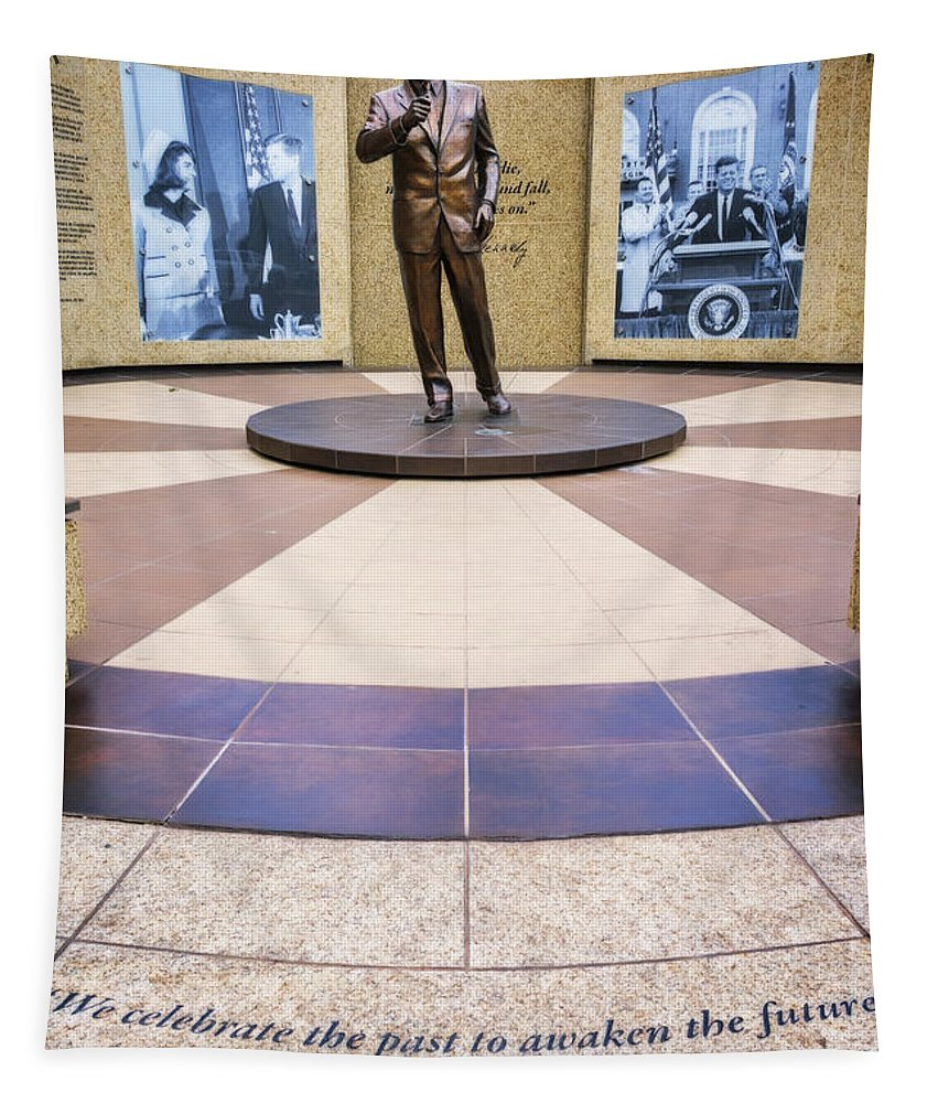 Joan Carroll Tapestry featuring the photograph Jfk Tribute Fort Worth by Joan Carroll