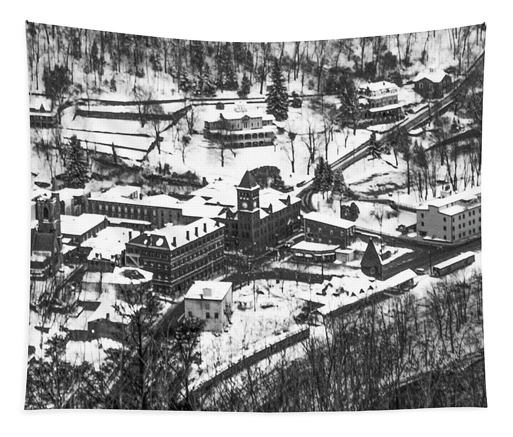 Jim Tapestry featuring the photograph Jim Thorpe Pennsylvania In Winter In Black And White by Bill Cannon